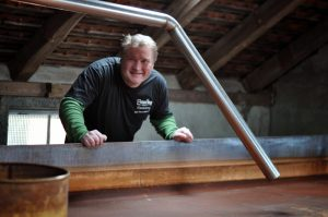Germany Beer Vacation Andy Ganstaller with his coolship at Ganstaller Brau