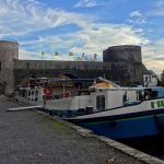 Barge mooring in Tournai next to the Le Pont des Trous